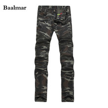 2017 New Camouflage Jeans Men Famous Designer Slim Washed Jeans Size 29-38 Jeans Homme Skinny Jeans Men(China)