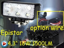 "Only 36USD/PCS,4.3"" 18W 1500LM 10~30V,6500K,LED working light;Free ship!Optional wire;motorcycle light,forklift,tractor light"