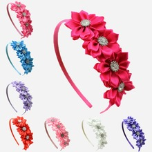 1 pcs Satin Ribbon  Flower rhinestone baby girl hair flower band Korean style princess headband  children hair accessories