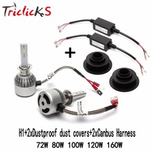 Triclicks H1 Imported Flip Chips LED No Error Canbus Headlights 6000K Hi/Lo Headlight Bulbs+2x Decoder+2x Dustproof Dust Covers