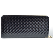 new Fashion exquisite knitted women's long design women patent leather clutch solid wallets handbag for lady female