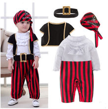 Baby Boys Cosplay Pirates Of The Caribbean Costume Kids Halloween Pirate Captain Costumes Christmas Birthday Party Clothes(China)