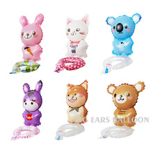Lucky Wristband Balloon Cute Animals Rabbit & Bear & Dog & Donkey & Cat Foil Air Balloons Party Decoration Globos Classic Toys