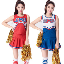 Football Cheerleading Costumes Football Girl Cosplay Costumes Top And Mini Skirt 2pcs Set Red Blue Sexy Football Baby Cos Set(China)
