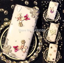 For Samsung Galaxy J2 2015 J200 Handmade Rhinestone Butterfly Flower Diamond Cover Cases