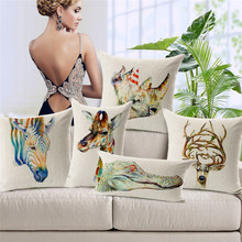 Modern Simple Cotton Linen Cushion Cover Pillowcase Elk Crocodile Giraffe Rhinoceros Seat and Back Square Pillow Cover 18 inches(China)