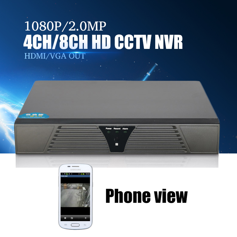 YiiSPO 4ch 1080P 8ch 960P CCTV NVR for IP Camera Motion Detection ONVIF H.264 HDMI Output P2P 2.0MP HD NVR CCTV phone view Xmeye<br>