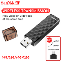 Original SanDisk Connect Wireless Stick USB Flash Drive 64GB Pen Drive 128GB 200GB SDWS4 Wi-Fi + USB 2.0 pendrive 16GB 32GB