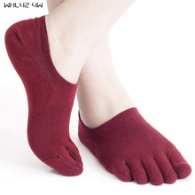 5 pairs/lot five fingers invisible sock men Cotton non-slip cool toe socks for men boy meias compression Socks EU39-45 Summer