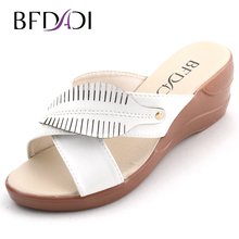 BFDADI Big Size 37-42 Summer Style Women Wedges Sandals 2016 Casual Ladies Platform Sandals Open Toe Women Shoes 3 Colors 8809(China)
