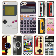 For Apple iPhone 5 5s SE Case Retro Audiotape Camera Calculator Game Player Painted Vivid Pattern Soft TPU Cases Cover Bag