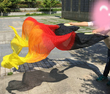 Belly Dance Veil Fan Stage Performance Real Silk Oriental Dancing Fan Veils Gradient Fire 180cm Many Colors(China)