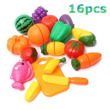Plastic Kitchen Food Fruit Vegetable Cutting Toys Kids Pretend Play Educational Kitchen Toys Cook Cosplay For Chiledren(China)