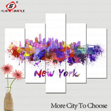 Watercolor City Series Canvas Painting New York Poster Print Home Decor Wall Art Painting For Living Room 5 Pieces Set Unframed