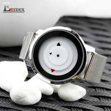 2017 gift Enmex creative style wristwatch pretty mirror face clean colour steel strap with simple casual fashion quartz watch