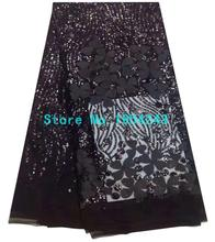 Black color sequins lace fabric hot sale african tulle lace fabric for big occasions noble dresses 5yards/piece AZ1128