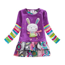 Retail Children Dresses Dresses for Girls Kids Baby Girl Dress 2-6T Princess Rabbit Dresses Christmas Cotton Clothing Q911(China)