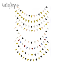 Lasting Surprise Black White Gold Flag Banner Glitter Paper Pennant Bunting Garland Wedding Decoration Birthday Party 3m 15Flag