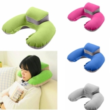 Pillow Portable Inflatable Neck Pillow U Shape PVC Flocking Pillow Flight Travel Accessory U-type inflatable pillow package