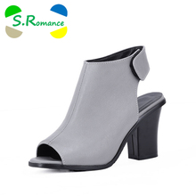 S.Romance Plus Size 32-43 Women Sandals New Fashion Gladiator High Heel Office Lady Pumps Woman Shoes Black White Gray SS831(China)