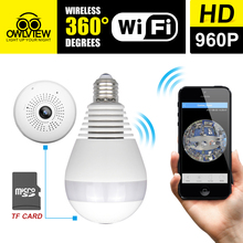 360 degree Bulb Light Wireless IP Camera Wi-fi FishEye 960P Full View Mini CCTV Camera 1.3MP Home Security WiFi Camera Panoramic(China)