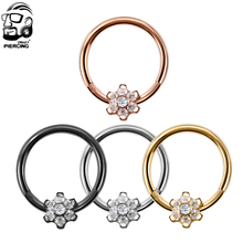 361L Surgical Steel Rose Gold Black Color Fashion Titanium Segment Nose Open Hoop Rings Septum Nose Piercing Body Jewelry(China)