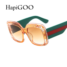 HapiGOO 2018 New Luxury Brand Designer Lady Square Sunglasses Women Goggle Sun Glasses For Female Diamond Frame Eyewear UV400(China)