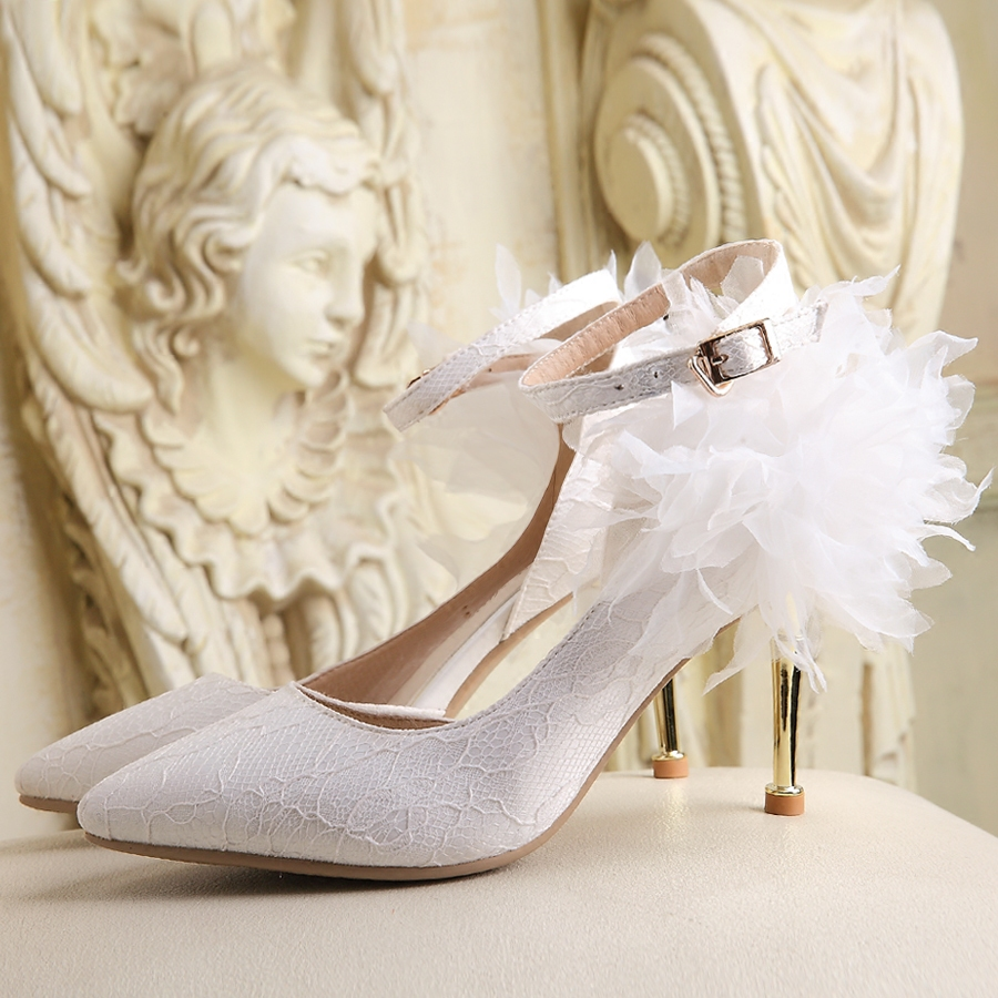 White Wedding Shoes Women Sandals Shoes Glass Slipper Bridal Shoes High Heels Handmade Lace Bridesmaid Ladies Pumps Flower <br><br>Aliexpress