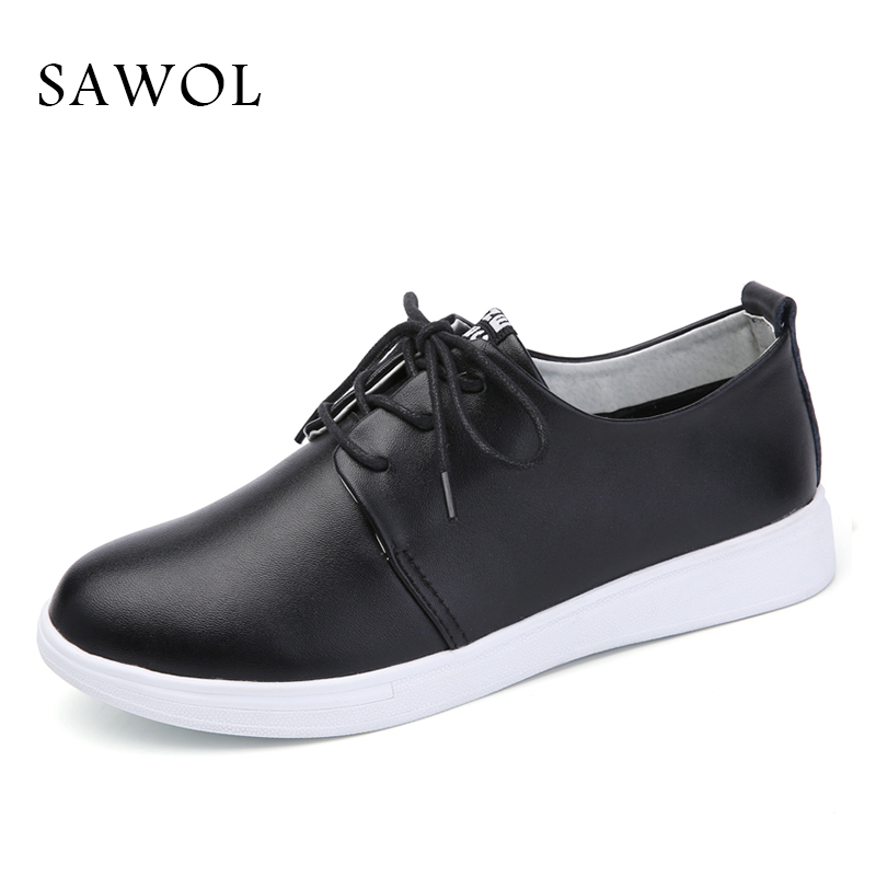 Sawol Women Flats Spring Autumn Brand Women Shoes Women Sneakers Split Leather Basic Female Casual Shoes Lace-up Round Toe<br>