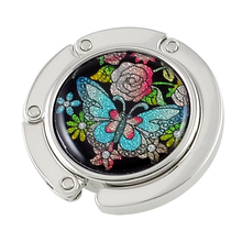 Metal Round Shape Butterfly Pattern Foldable Handbag Hook Bag holder
