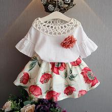 Girls clothing sets kids clithes 2016 summer fashion style new baby wear flower tops + dresses children simple suits clothes