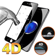 4D Full Cover Tempered Glass For iPhone 6 6s 7 Plus Case 9H Round Curved Edge Protective Premium Screen Protector Film