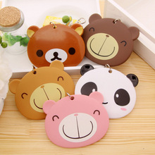 Hot Portable Bus Card Case Holder Cute Cartoon Bear Care Student ID Identity Badge Credit Cards Cover With Lanyard