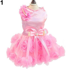 New Female Pet Dogs Puppy Spring Summer Bow Rose Satin Gauze Party Tutu Dress Clothes(China)