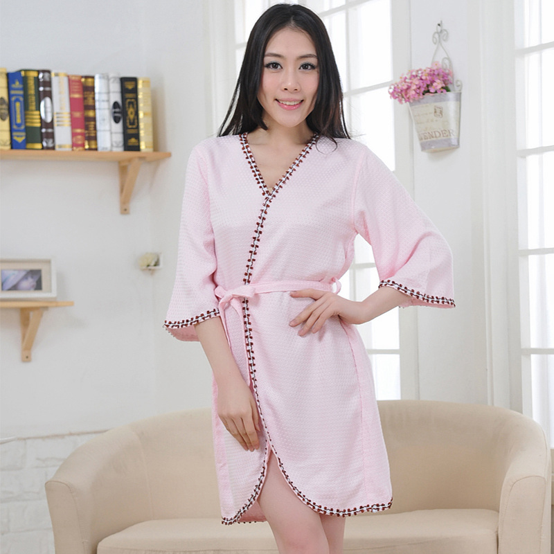 Sexy women bathrobe bamboo fiber nightgown ladies nightdress girls sleepwear cool summer lovers long soft home hotel(China (Mainland))