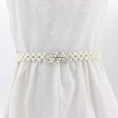 4 Rows Pearl Crystal Buckle Women/'s Elastic Corset Belt Wedding Dress Decor