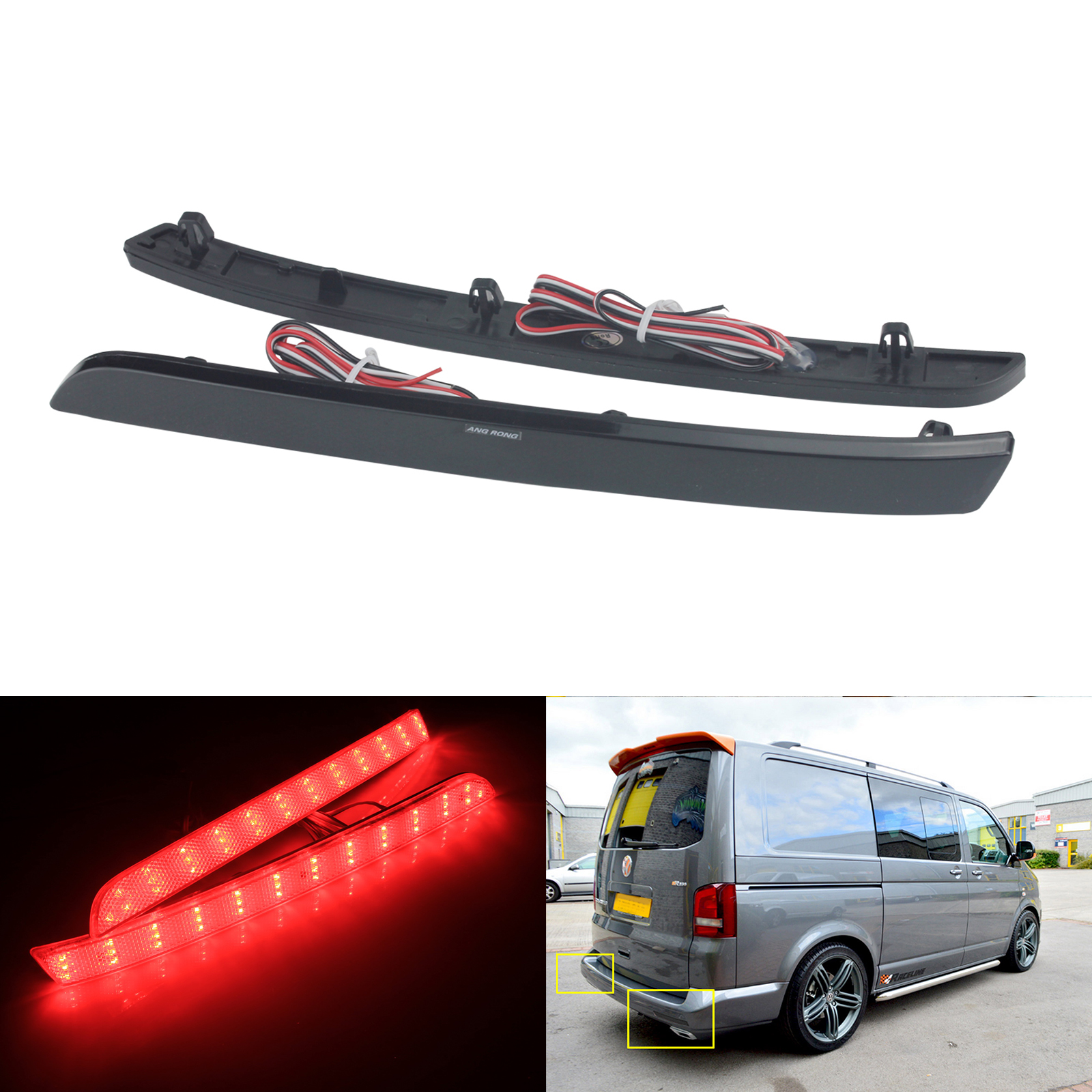 2x Red Rear Bumper Reflector LED Stop Brake Driving Lights For VW T5 Transporter