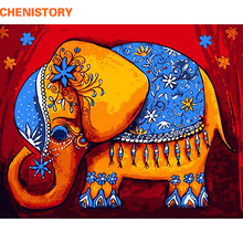 CHENISTORY Frameless Cartoon Elephant DIY Painting By Numbers Animals Modern Wall Art Canvas Painting Unique Gift For Home Decor(China)