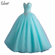 Cheap Hot Pink Light Blue Quinceanera Dresses Sweet 16 Ball Gowns Beaded Crystal Sleeveless Vestidos De 15 Anos Debutante Gown(China)