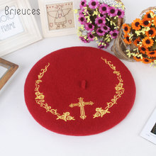 Brieuces 2017 new autumn winter keepwarm fashion vintage 100% wool beret cross pattern Embroidery pattern Painter hat Woolen hat(China)