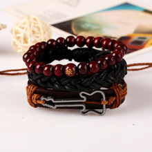 Buddha Bracelets Set 3pcs in 1 Hand Wrap Leather Bracelets Men Music Note Charm Guitar Wrist Band Jewelry Boys Accessories 2017(China)
