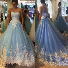 Sky Blue Floral Lace Wedding Dresses with Petticoat A Line Sweetheart Chic Lace Up Back Robe De Mariage