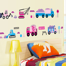 Train Crane Hook Machine Cars Wall Decal Paper Home Sticker Art Picture Murals kids Nursery Baby Room Decoration(China)