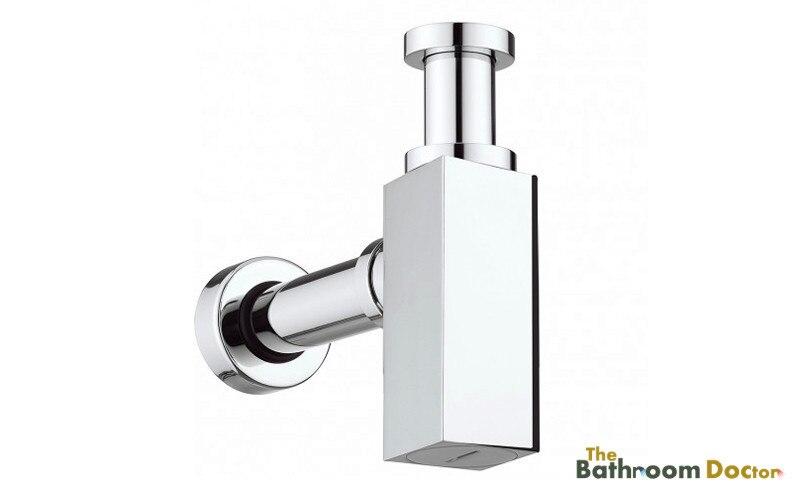 Free shipping Bathroom Square Modern Designer Chrome Plated Brass Basin Sink Bottle Trap, Extension Tube, Chrome 11-088-4<br>