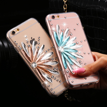 i6 6S Plus Clear Cover Bling Diamond Flower Rhinestone Case For iPhone 6 6S 4.7 For iPhone 6+ 6S Plus Fashion Accessories Coque(China)
