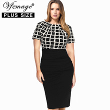 Vfemage (Plus Size) Womens Elegant Tartan Check Ruched High Waist Casual Work Office Party Sheath Bodycon Pencil Dress 2799(China)