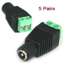 5 pairs CCTV Video Balun 5.5mm x 2.1mm DC Power Plug Binding Post Terminals(China)
