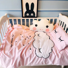 2016 winter new baby crib bedding set cloud embroidery eyelash pattern crib sheet mattress quilt cover(China)