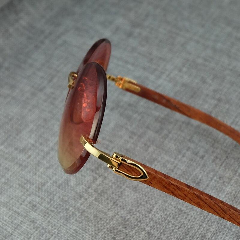 Big Round Wood Color Mix Fashion Pink Sunglasses Lady Eyewear Luxury Sun Glass Brand Designer Carter Sunglass (4)