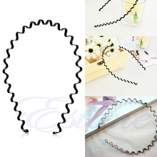 New 2017 arrival Mens Women Unisex Black Wavy Hair Head Hoop Band Sport Headband Hairband Hot Sale